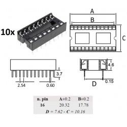 10x Ninigi DIP16, zoccolo per integrati 16 pin