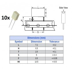 10x Kemet MKT 0,047uF/100V, condensatore in poliestere radiale (473), p: 5mm