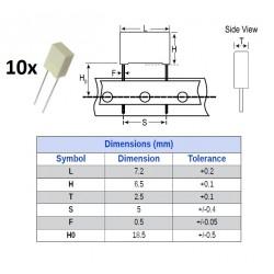 10x Kemet MKT 0,47uF/63V, condensatore in poliestere radiale (474), p: 5mm