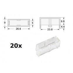20x Calotta trasparente per portafusibile 5x20 da PCB