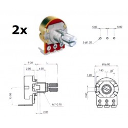 2x ECC 16mm 10KA, potenziometro LOG mono (2D5, L: 15mm), pin PCB 90*