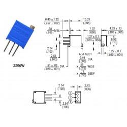 Elecsound 3296W 100K, trimmer a regolazione verticale, 3296W-1-104