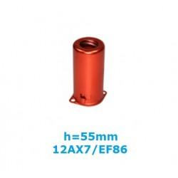 Schermo AZZURRO in alluminio h: 55mm per valvole noval (ECC83-EF86)