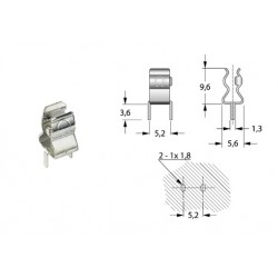 Portafusibile a pinza, clip, 5x20 montaggio su PCB